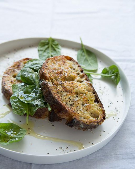 1. Savory Parmesan French Toast With Spinach