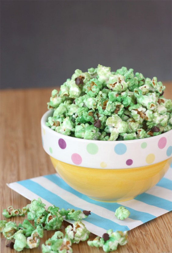 6. Mint Chocolate Chip Glazed Popcorn