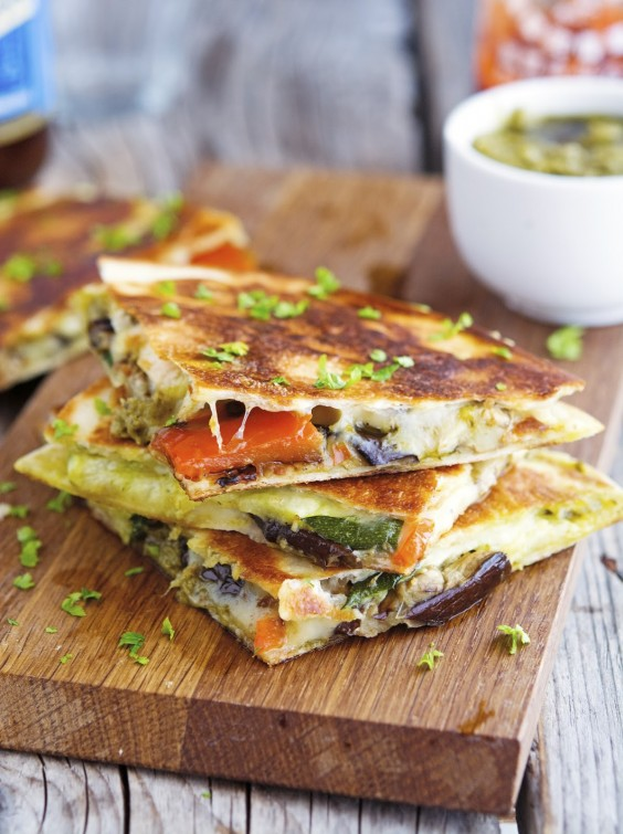 Grilled Vegetable Quesadillas With Kale Pesto