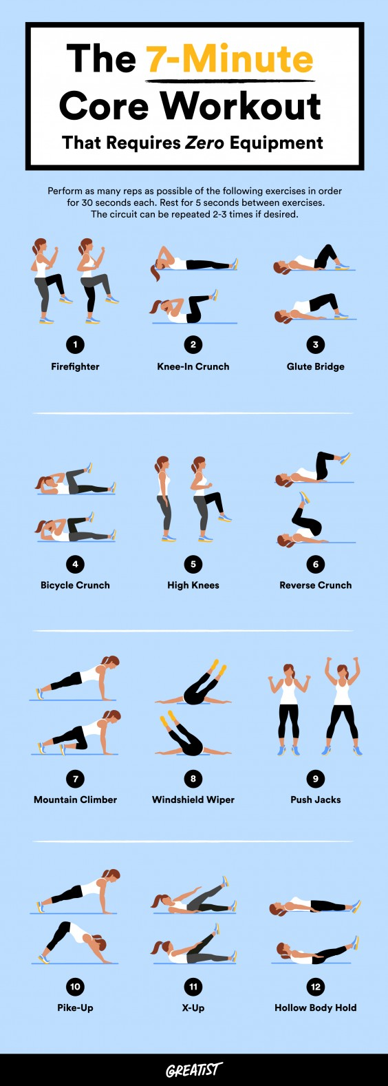 8 Minute Abs Level 1 : minute, level, 7-Minute, Quick, Workout, Without, Equipment