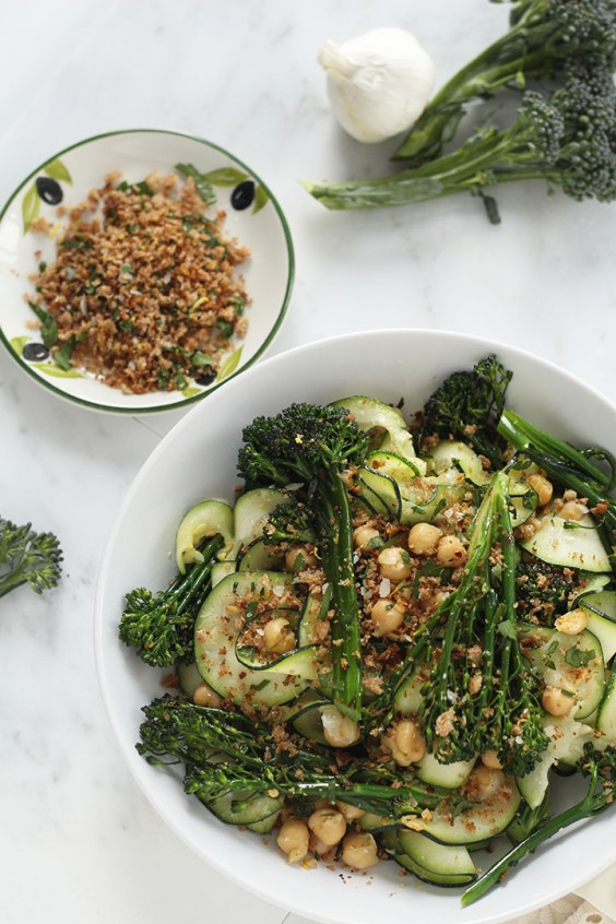 Broccolini and Chickpea Zucchini Pasta