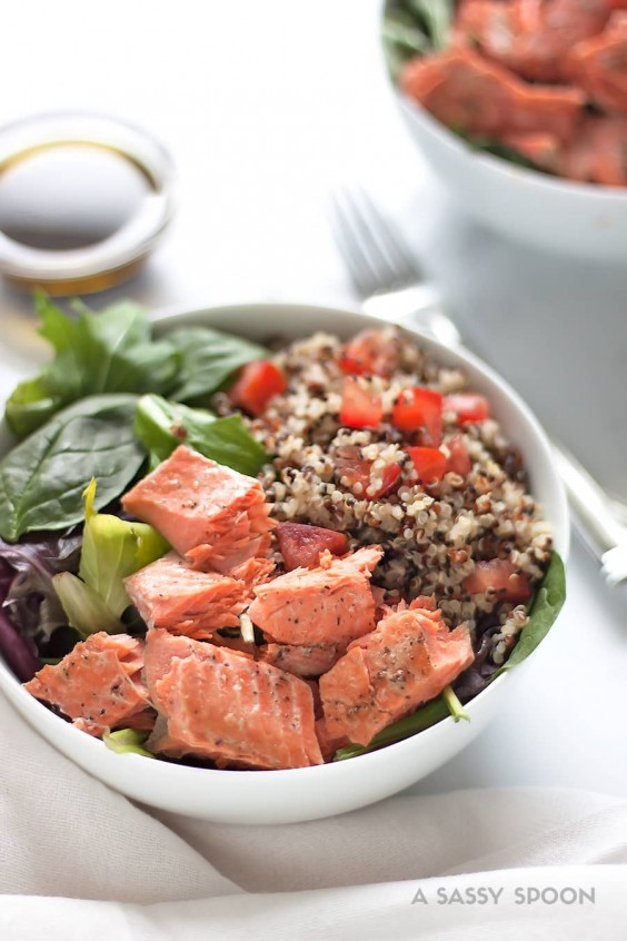 2. Salmon Quinoa Salad With Balsamic and Olive Oil Dressing
