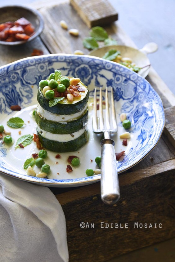 8. Zucchini Goat Cheese Stacks With Mint, Pine Nuts, and Crispy Prosciutto