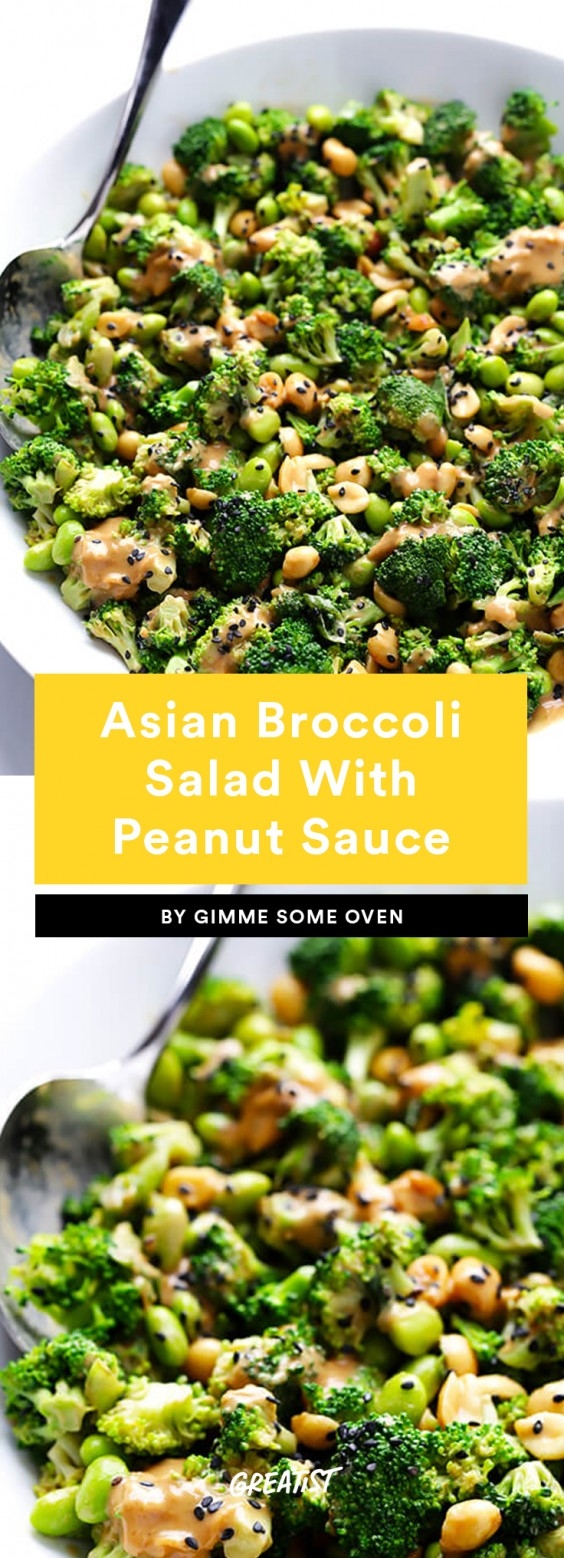 7. Asian Broccoli Salad With Peanut Sauce