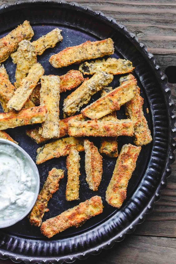 3. Baked Eggplant Fries With Greek Tzatziki Sauce