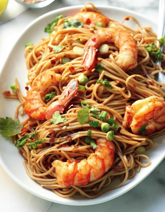2. Super-Simple Garlic and Shrimp Soba Noodles