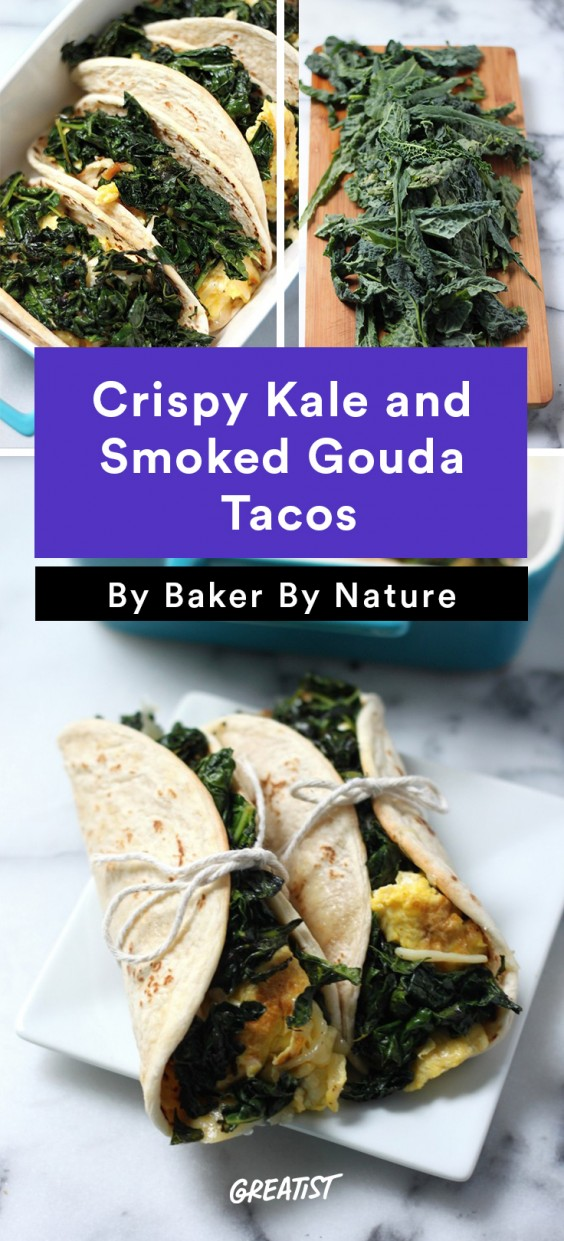 Scrambled Egg Recipes: Crispy Kale and Smoked Gouda Tacos