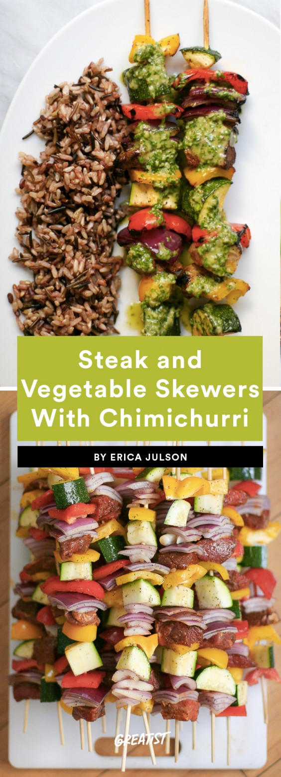 1. Steak and Vegetable Skewers With Chimichurri*