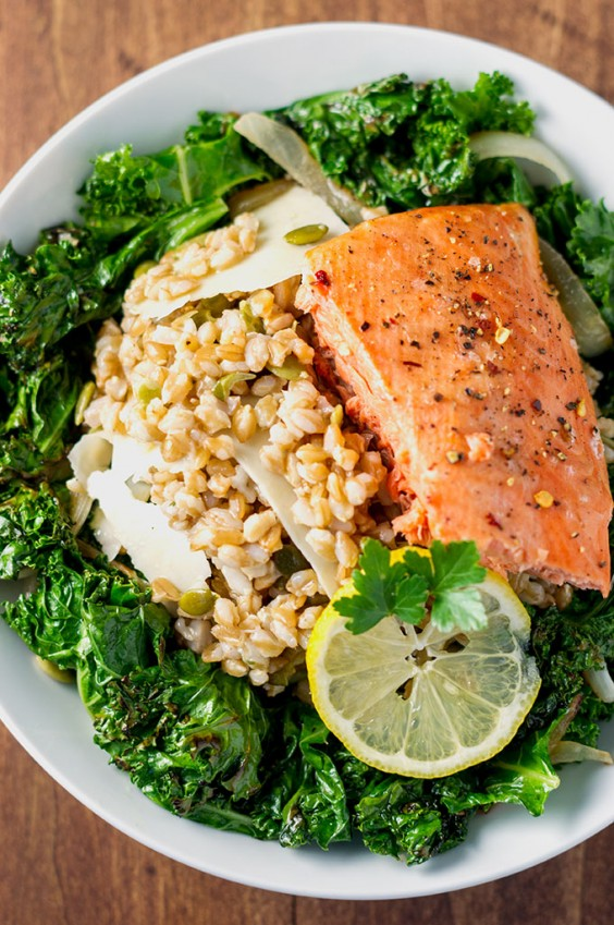3. Charred Kale and Farro Salad With Salmon