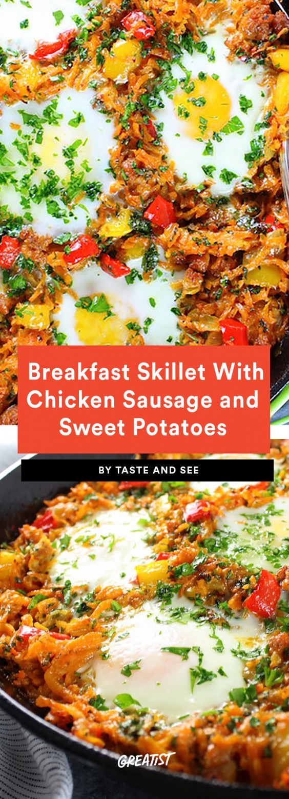 Breakfast Skillet With Chicken Sausage and Sweet Potatoes Recipe