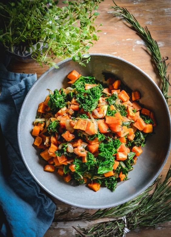 6. Sweet Potatoes With Kale and Caramelized Onions
