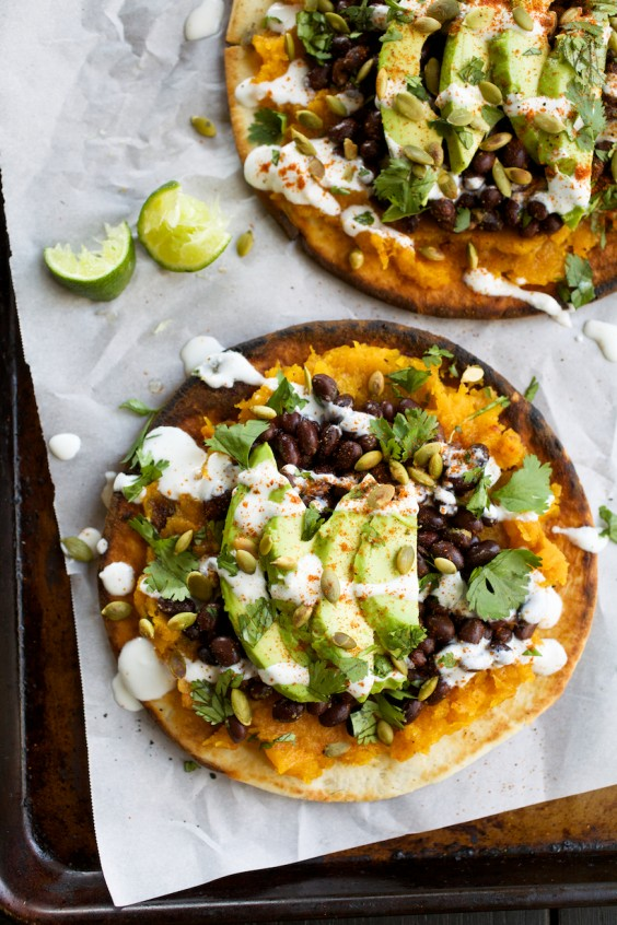 1. Pita Tostadas With Butternut Squash, Black Beans, and Avocado