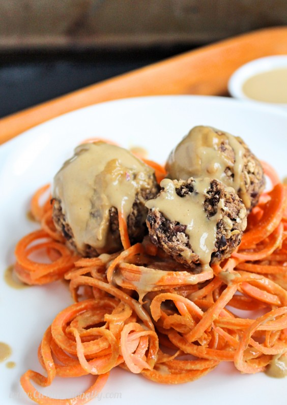 "12. Sunflower Seed Butter Sauce Drenched Carrot Noodles With Black Bean ""Meatballs"""