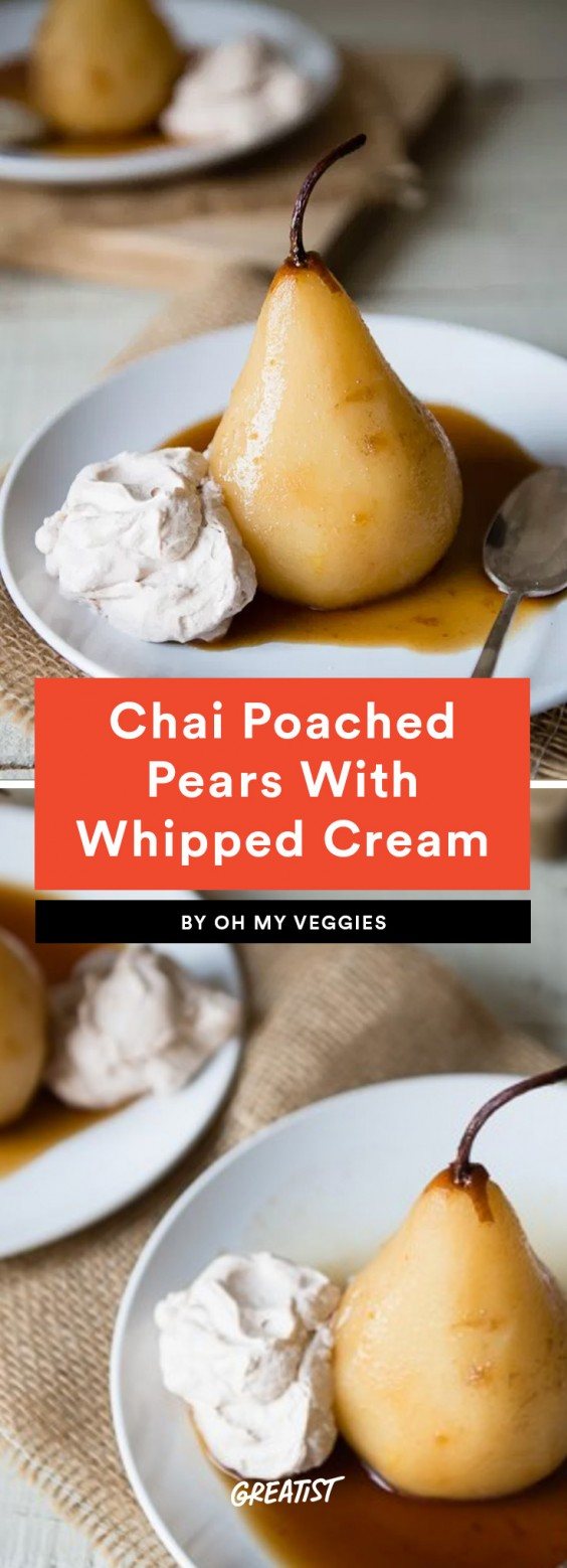 4. Chai Poached Pears With Cinnamon Whipped Cream