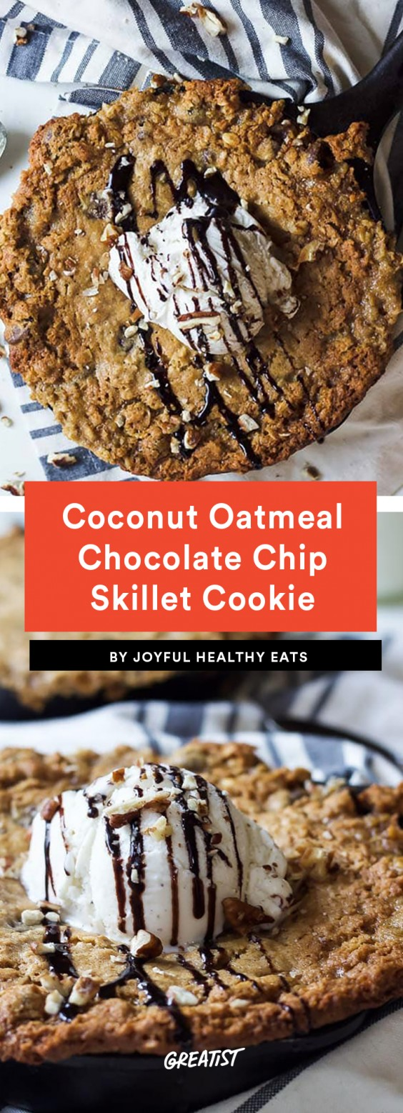 Coconut Oatmeal Chocolate Chip Skillet Cookie Recipe