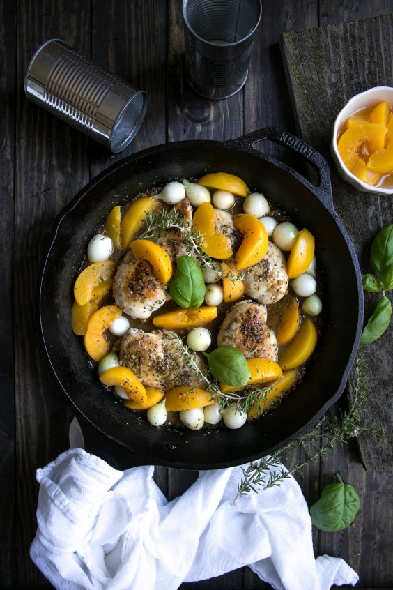 8. 30-Minute Peach and Chicken Skillet With Pearl Onions