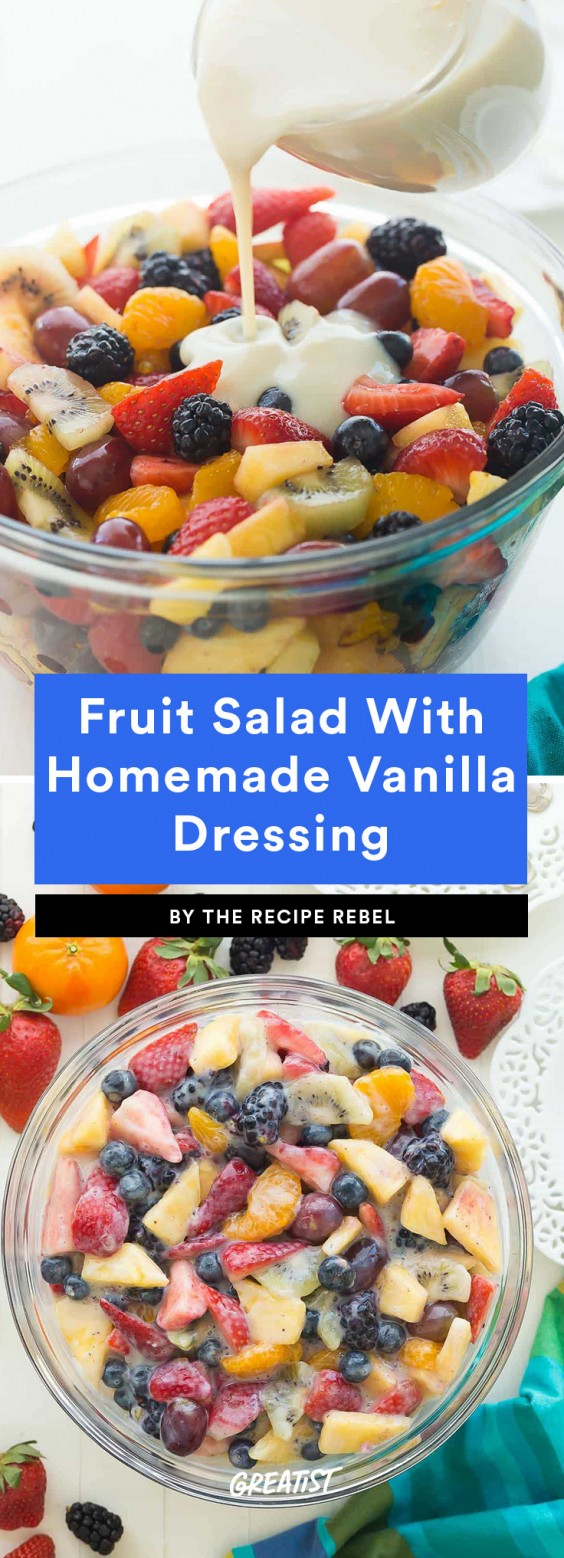 3. Creamy Fruit Salad With Homemade Vanilla Dressing
