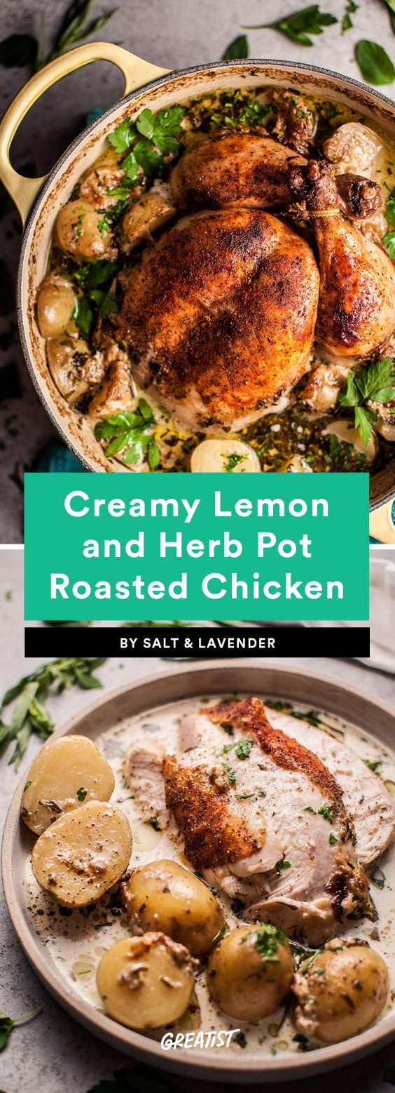 1. Creamy Lemon and Herb Pot Roasted Chicken