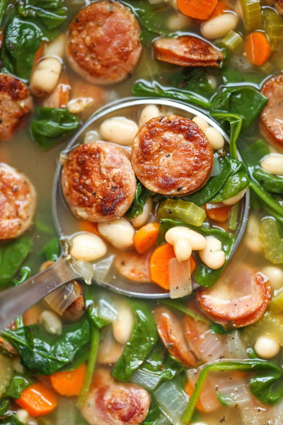 3. Sausage, Spinach, and White Bean Soup