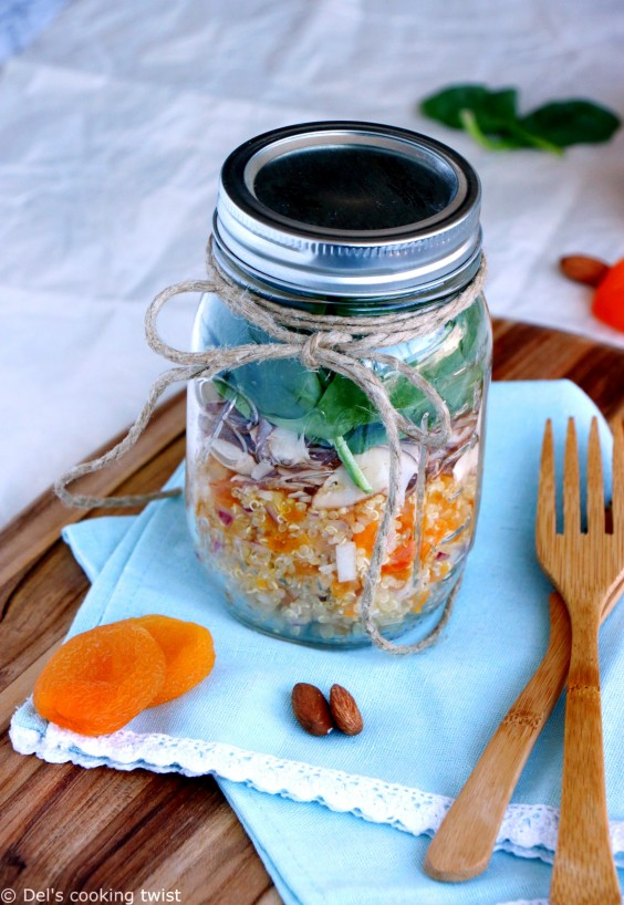 12. Apricot and Feta Quinoa Mason Jar Salad With a Lemon Curry Dressing