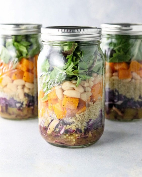 9. Fall Mason Jar Salad With Maple Cider Vinaigrette