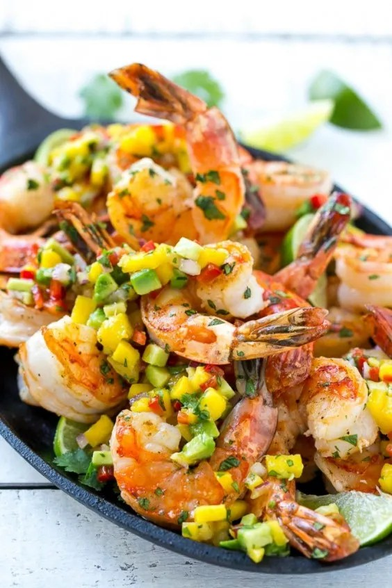1. Cilantro Lime Shrimp With Mango Avocado Salsa