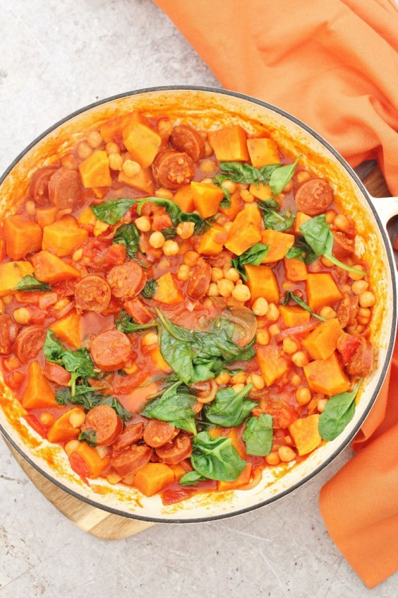 7. One-Pot Chorizo, Chickpea, and Sweet Potato Stew