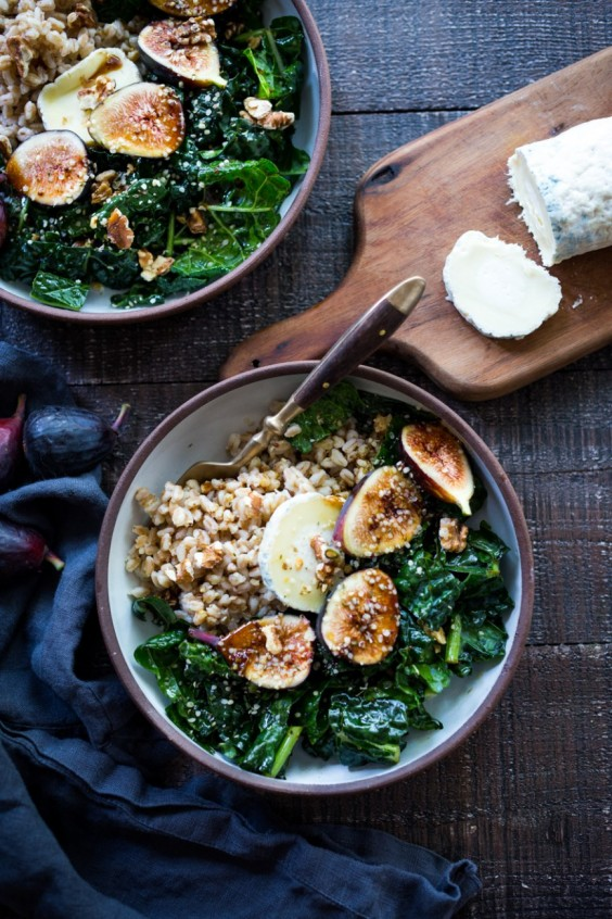 1. Farro Bowl With Figs, Kale, and French Goat Cheese