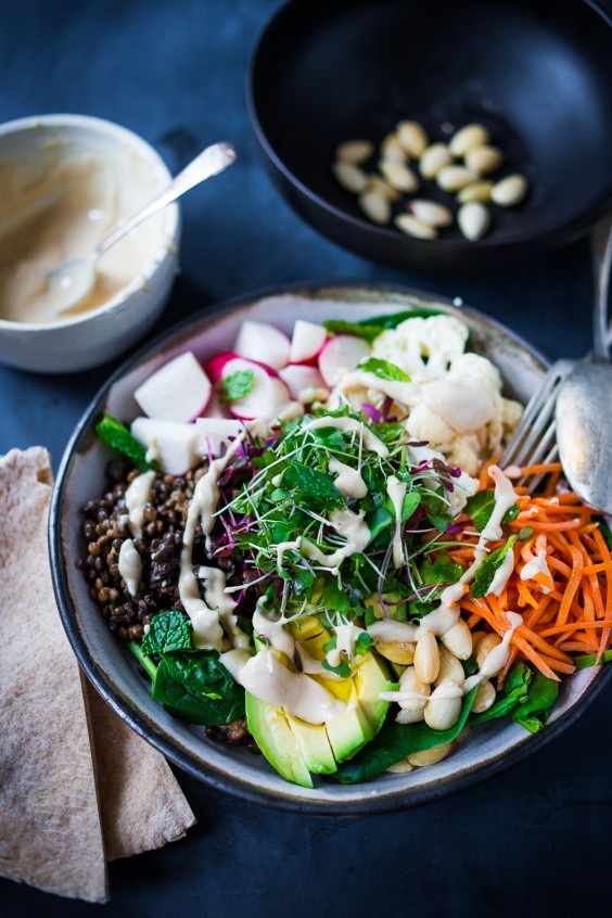 20 Gluten-Free Lunches: Minted Lentil Veggie Bowl