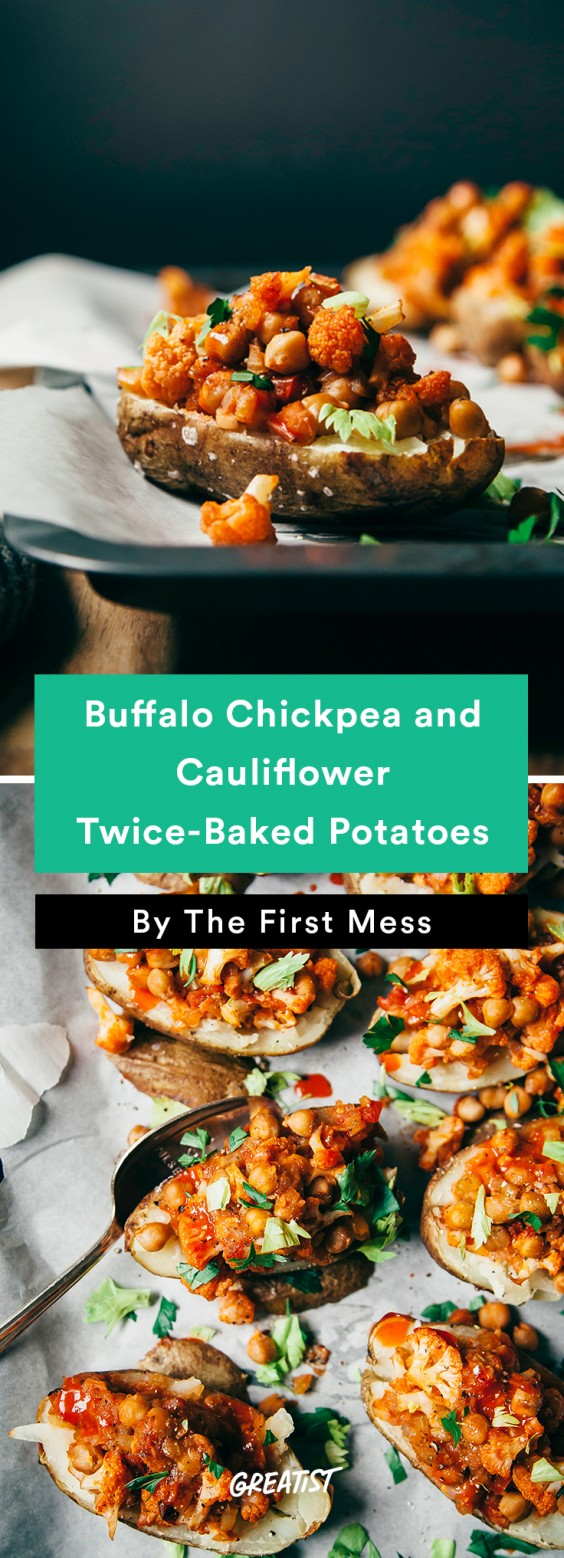 Twice-Baked Potatoes With Buffalo Chickpeas and Cauliflower