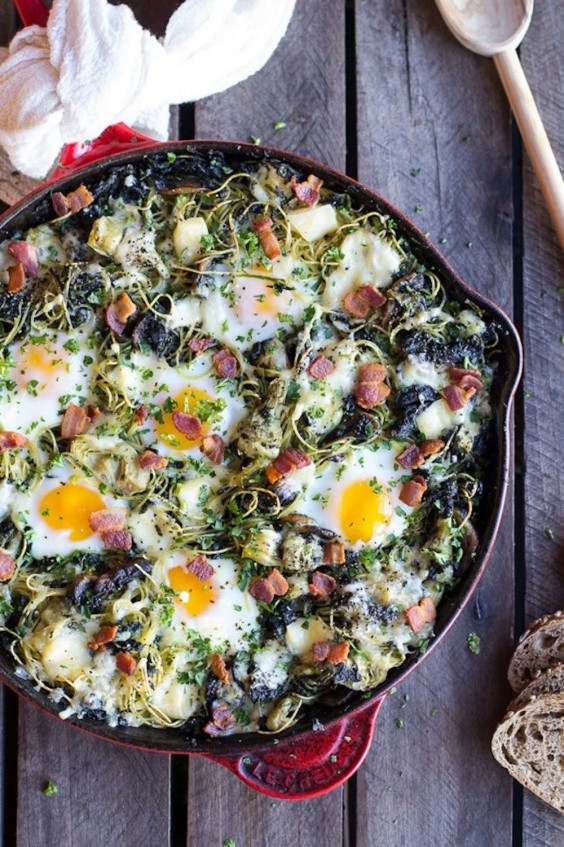 1. Fontina Spinach and Artichoke Breakfast Pasta Hash