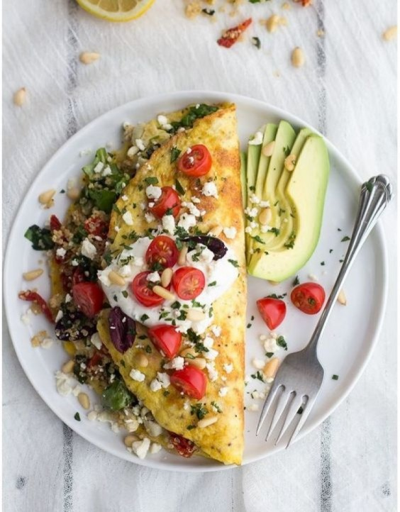 3. Simple Greek Quinoa Dinner Omelets With Feta and Tzatziki