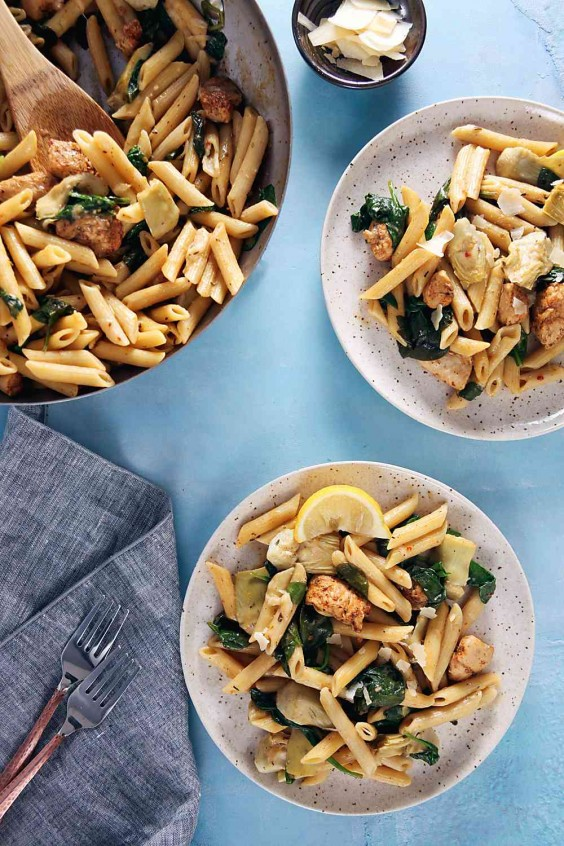 2. One-Pan Cajun Chicken Penne With Artichokes and Lemon