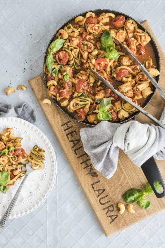 1. Chicken Tomato Zoodles With Spiced Cashews