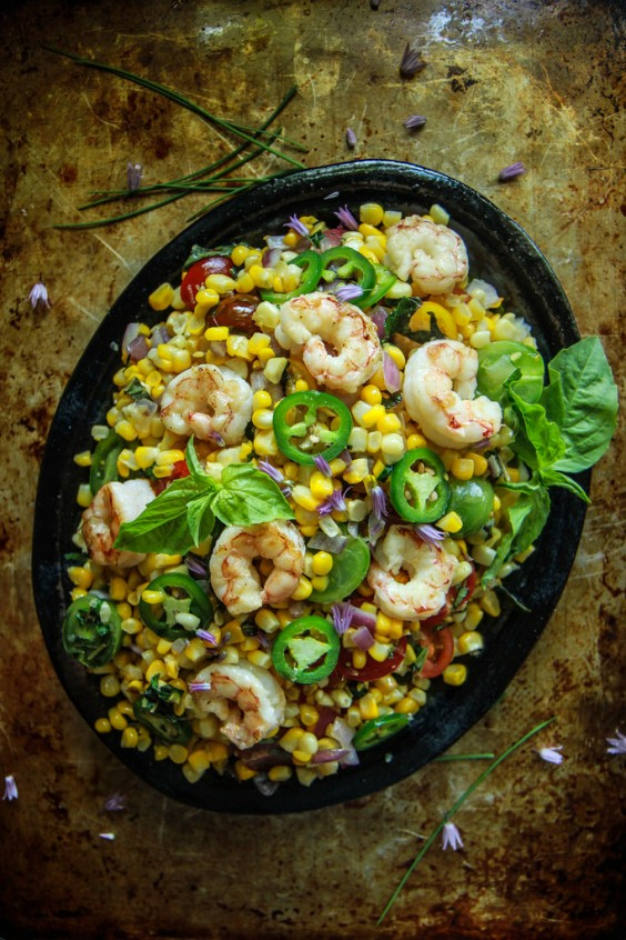 14. Hot Shrimp, Corn, and Basil Salad