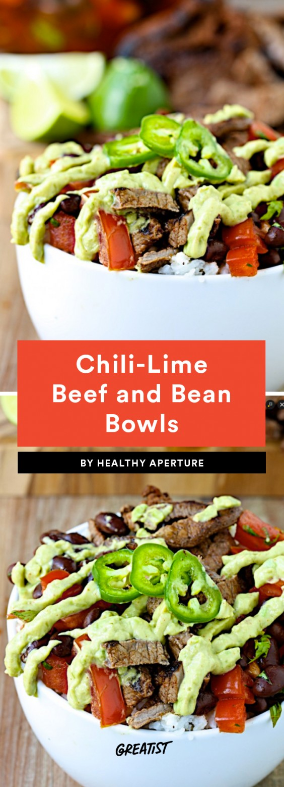 1. Chili-Lime Beef and Black Bean Bowls With Avocado Crema
