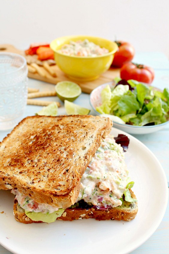 14. Clean-Eating Tuna Salmon Salad Sandwich