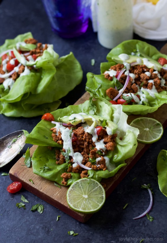 2. Ground Turkey Taco Lettuce Wraps With Cilantro Lime Crema
