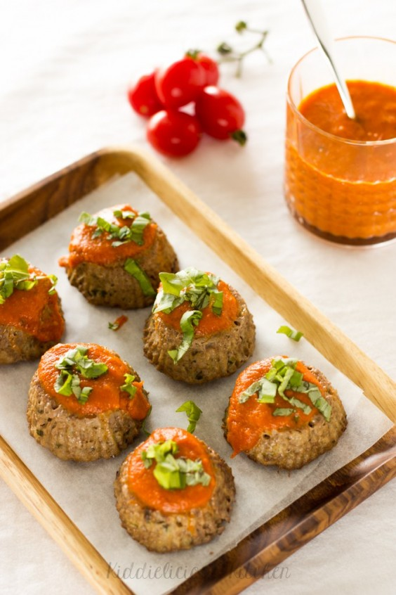 2. Hidden Veggie Meatloaf Muffins With Roasted Tomato Sauce