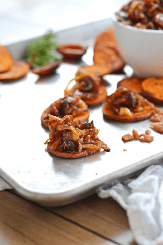 4. Caramelized Onion and Bacon Compote on Sweet Potato Crostini