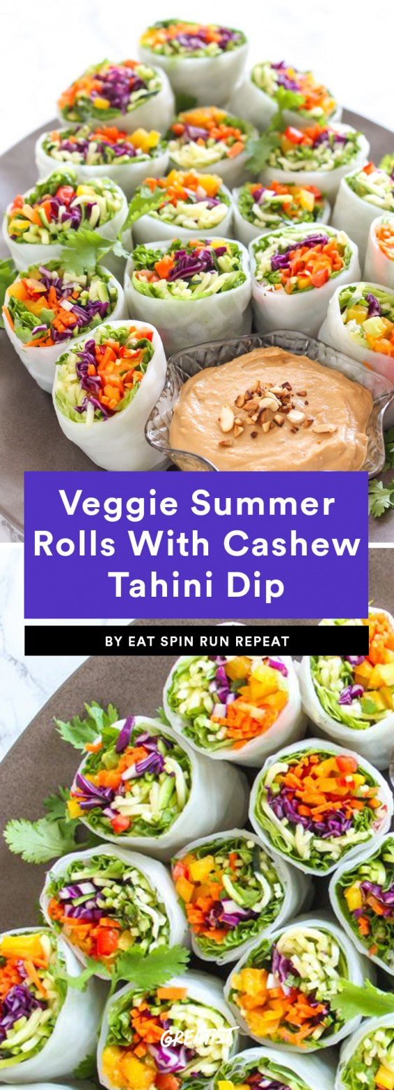 2. Loaded Veggie Summer Rolls With Cashew Tahini Dip