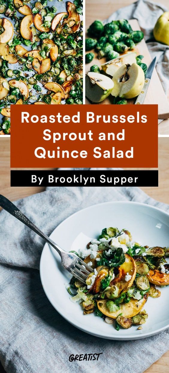 warm salads: Roasted Brussels Sprout and Quince Salad