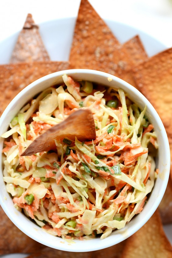 Creamy Thai Slaw with Baked Wonton Chips