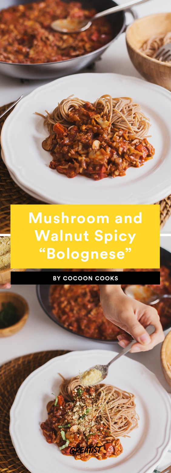 "1. Mushroom and Walnut Spicy ""Bolognese"""