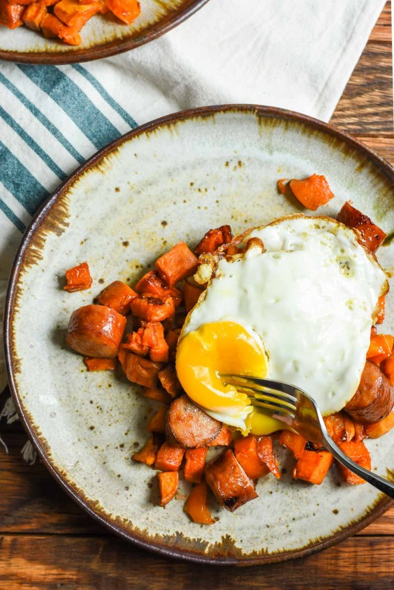 3. Maple Roasted Sweet Potato and Chicken Sausage Breakfast Bowls