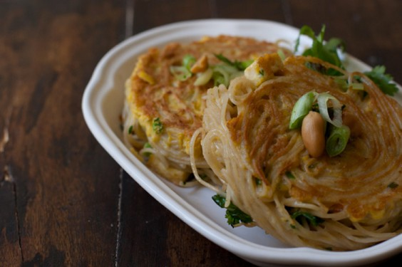 Curried Noodle Patties Made From Leftover Pasta