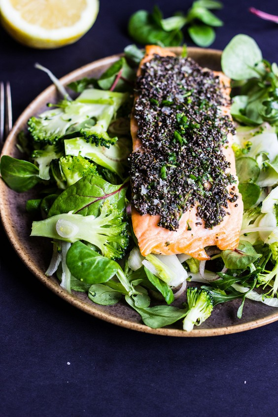 15. Chia-Crusted Salmon With Shaved Fennel and Broccoli Salad
