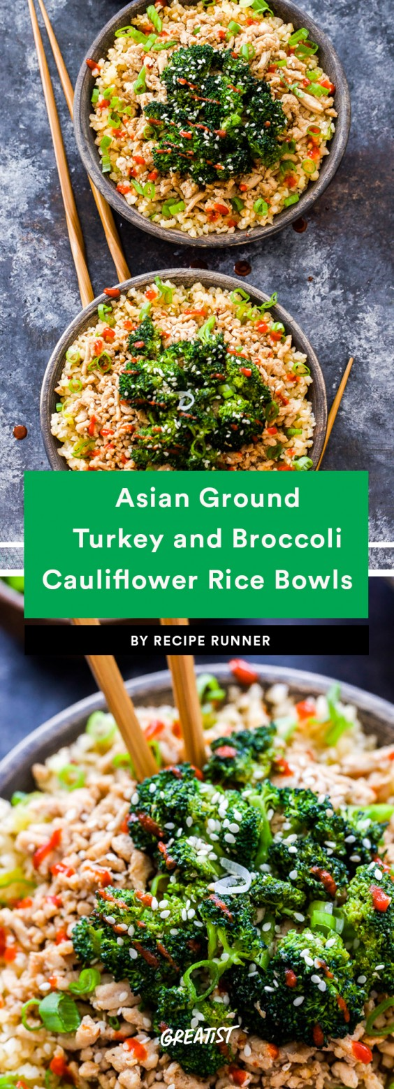 1. Asian Ground Turkey and Broccoli Cauliflower Rice Bowls