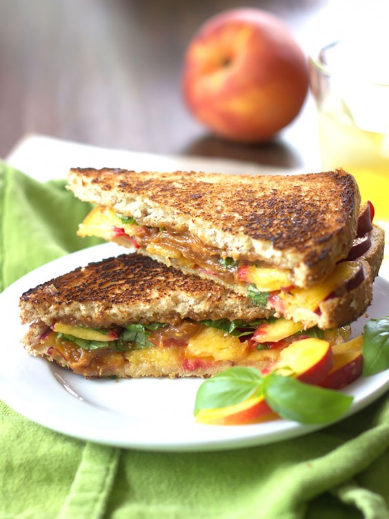 Grilled Peach Sandwich With Basil and Thai Peanut Sauce