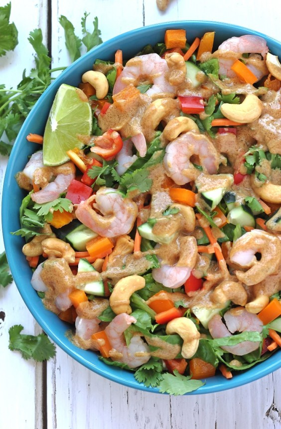 8. Thai Shrimp Salad With Almond Butter Dressing